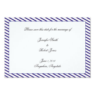 """Nautical Anchor on Blue Stripe Save the Date 3.5"""" X 5"""" Invitation Card"""