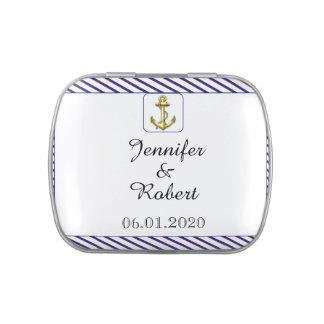 Nautical Anchor on Blue Stripe Wedding Candy Tin