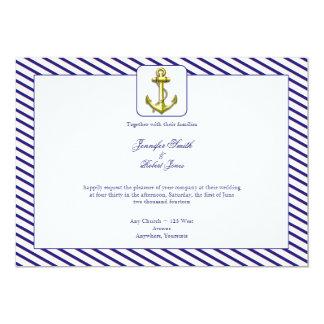 "Nautical Anchor on Blue Stripe Wedding Invitation 5"" X 7"" Invitation Card"