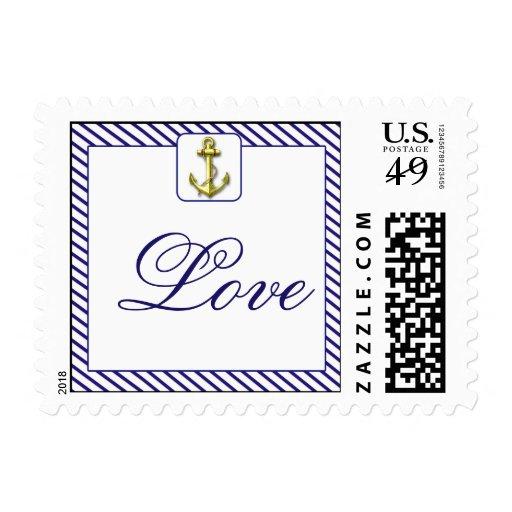 Nautical Anchor on Blue Stripe Wedding Postage