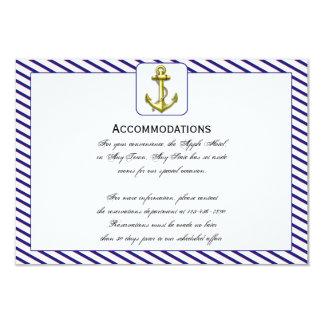 "Nautical Anchor on Blue Wedding Accomodations 3.5"" X 5"" Invitation Card"