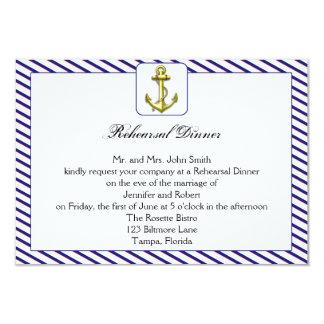 """Nautical Anchor on Blue Wedding Rehearsal Dinner 3.5"""" X 5"""" Invitation Card"""