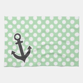 Nautical Anchor on Celadon Green Polka Dots Hand Towels