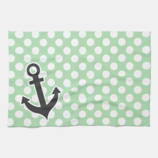 Nautical Anchor on Celadon Green Polka Dots Kitchen Towel