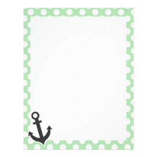 Nautical Anchor on Celadon Green Polka Dots Letterhead Template