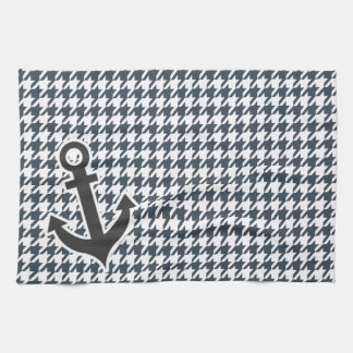 Nautical Anchor on Charcoal Color Houndstooth Hand Towels