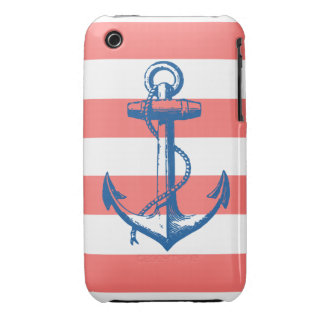 Nautical Anchor on Coral Stripes iPhone 3 Case