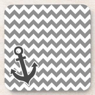Nautical Anchor on Dark Gray Chevron Coaster