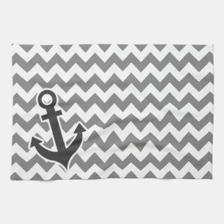Nautical Anchor on Dark Gray Chevron Hand Towel