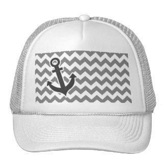 Nautical Anchor on Dark Gray Chevron Trucker Hat