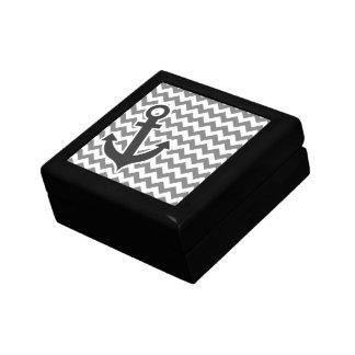 Nautical Anchor on Dark Gray Chevron Jewelry Box