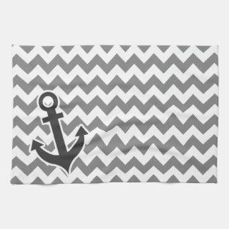 Nautical Anchor on Dark Gray Chevron Kitchen Towels