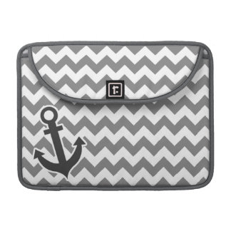 Nautical Anchor on Dark Gray Chevron Sleeve For MacBooks