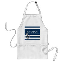 Nautical Anchor on Dark Midnight Blue Stripes Adult Apron