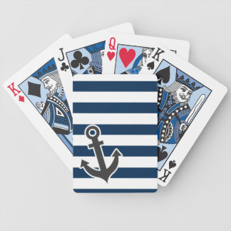 Nautical Anchor on Dark Midnight Blue Stripes Bicycle Playing Cards