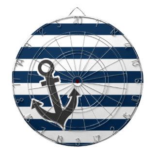 Nautical Anchor on Dark Midnight Blue Stripes Dart Boards