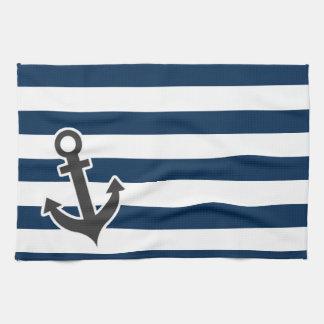 Nautical Anchor on Dark Midnight Blue Stripes Hand Towel