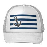 Nautical Anchor on Dark Midnight Blue Stripes Trucker Hat