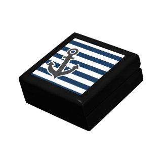 Nautical Anchor on Dark Midnight Blue Stripes Jewelry Box
