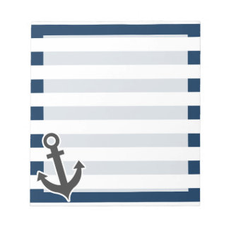 Nautical Anchor on Dark Midnight Blue Stripes Scratch Pads