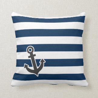 Nautical Anchor on Dark Midnight Blue Stripes Throw Pillows