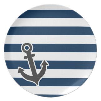 Nautical Anchor on Dark Midnight Blue Stripes Plate