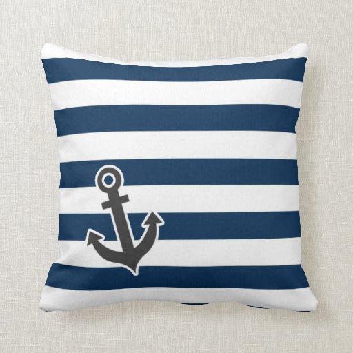 Midnight Blue Throw Pillows : Nautical Anchor on Dark Midnight Blue Stripes Throw Pillow Zazzle