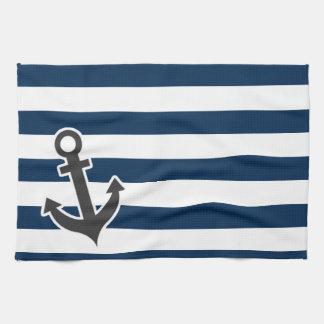 Nautical Anchor on Dark Midnight Blue Stripes Towels