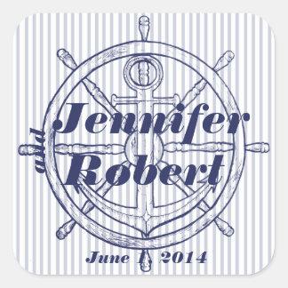 Nautical Anchor on Grey Stripe Envelope Seal Square Sticker