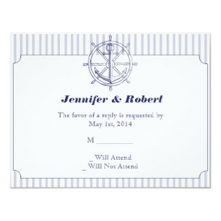 Nautical Anchor on Grey Stripe Response Card Personalized Announcements