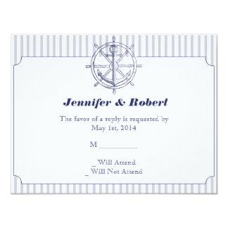 Nautical Anchor on Grey Stripe Response Card