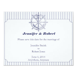 Nautical Anchor on Grey Stripe Save the Date Card