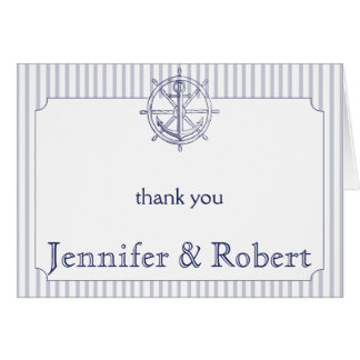 Nautical Anchor on Grey Stripe Thank You Stationery Note Card