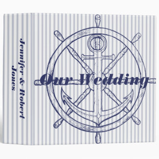 Nautical Anchor on Grey Stripe Wedding Binder