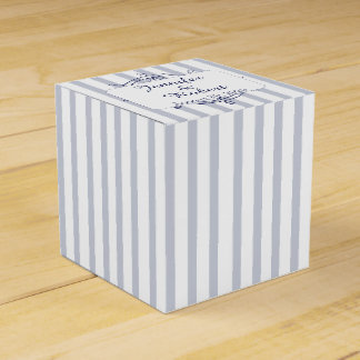 Nautical Anchor on Grey Stripe Wedding Favor Box
