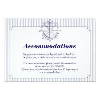 Nautical Anchor on Grey Stripe Wedding Insert 3.5x5 Paper Invitation Card