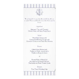 Nautical Anchor on Grey Stripe Wedding Menu