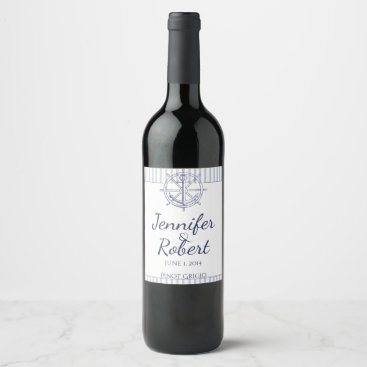 Beach Themed Nautical Anchor on Grey Stripe Wine Label
