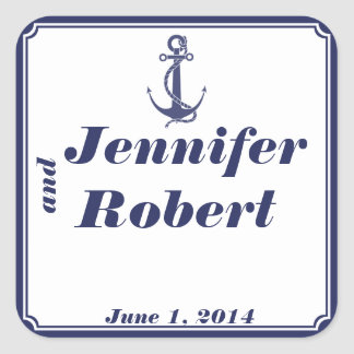 Nautical Anchor on Navy Envelope Seal Square Sticker