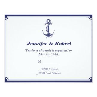 Nautical Anchor on Navy Response Card Custom Invitations