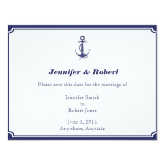 Nautical Anchor on Navy Save the Date Card Announcement