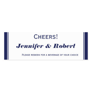 Nautical Anchor on Navy Wedding Drink Tickets Double-Sided Mini Business Cards (Pack Of 20)