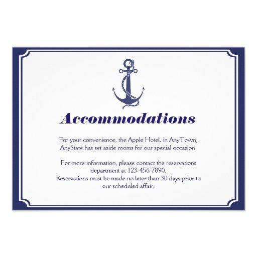 Nautical Anchor on Navy Wedding Insert Custom Invitations
