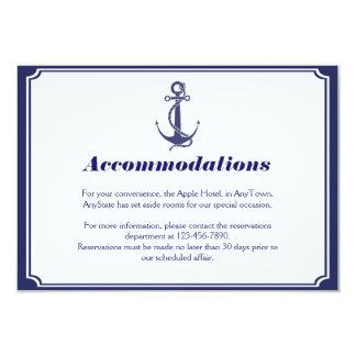Nautical Anchor on Navy Wedding Insert Custom Invitations