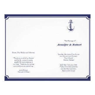 Nautical Anchor on Navy Wedding Program
