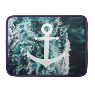 Nautical anchor on ocean photo background sleeve for MacBook pro