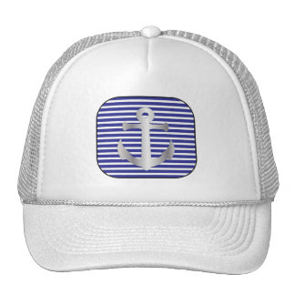 Nautical Anchor on Silver and blue Black frame Trucker Hat