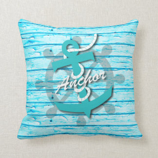 Nautical -  Anchor On Teal Rustic Wood Throw Pillow