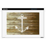 "Nautical Anchor on wood graphic 15"" Laptop Skin"