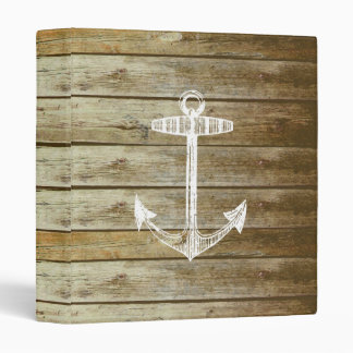 Nautical Anchor on wood graphic 3 Ring Binder